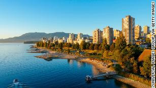 A view of English Bay Beach in Vancouver, British Columbia, Canada.