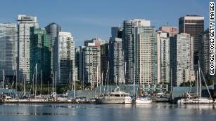 Vancouver's city skyline and Coal Harbour.