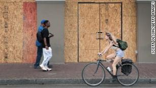 A storefront on the edge of the French Quarter is boarded up to prevent damage in anticipation of  Barry.