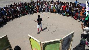 Fekat performs in Arba Minch, Ethiopia, during its monthlong tour across the country.