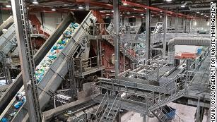 Trash being separated at an optical sorting plant in Oslo, Norway.