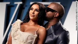 Kim Kardashian West and Kanye West attend the Vanity Fair Oscar Party in February 2020.