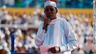 Chadian President Idriss Déby Itno addresses supporters at his election campaign rally in N'djamena on April 9, 2021.